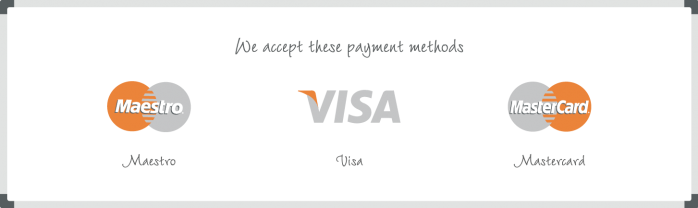 Payment methods TnP Visual Workplace